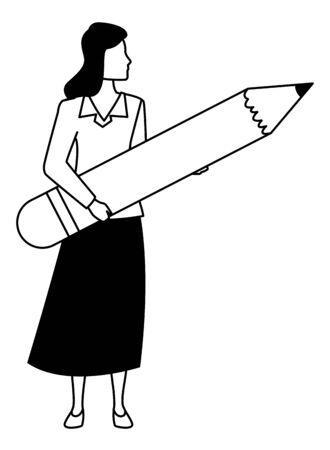Executive businesswoman holding big pencil ,vector illustration graphic design. Stok Fotoğraf - 133703333