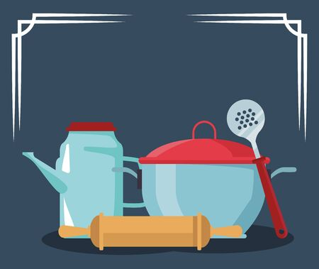 pot with tea pot and kitchen utensils over white background, colorful design , vector illustration