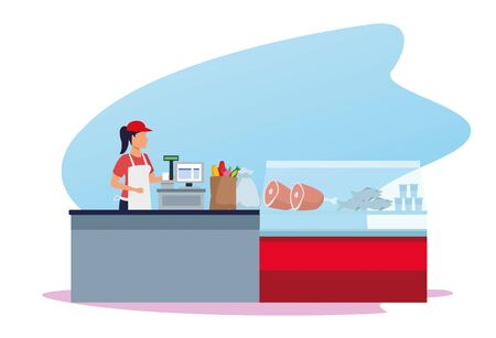 woman worker in supermarket cash register next to meat fridge over white background, vector illustration