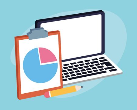 laptop computer with clipboard and pencil over blue background, colorful design , vector illustration