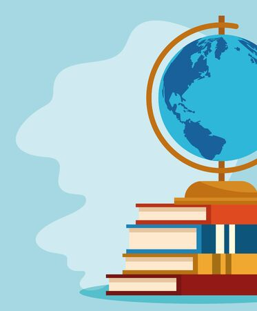 academic books with globe over blue background, colorful design , vector illustration Иллюстрация