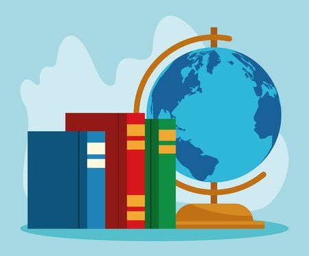 books and geography tool over blue background, colorful design , vector illustration Иллюстрация