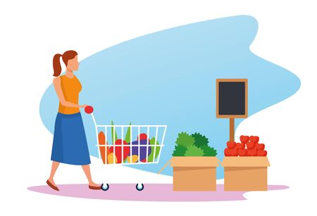 avatar woman with supermarket car and boxes with vegetables over white background, colorful design , vector illustration