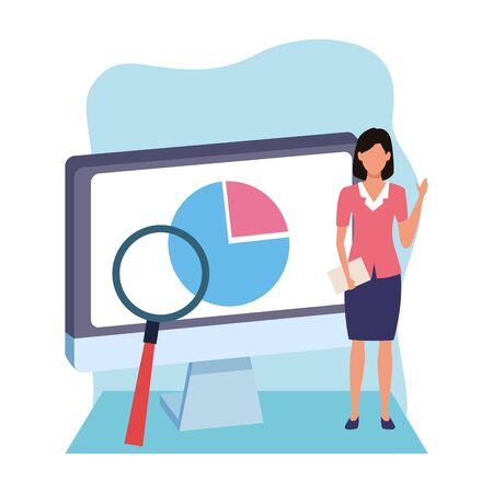 businesswoman with computer and magnifying glass over white and blue background, colorful design , vector illustration Illusztráció