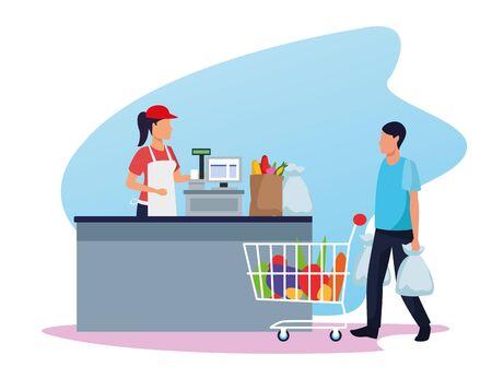 avatar supermarket worker at cash register and customer with a supermarket car full of groceries, colorful design , vector illustration Stock fotó - 133703000