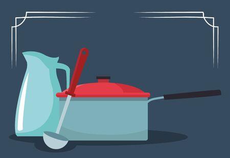 kitchen pot with jug and spoon over blue background, colorful design , vector illustration Illustration