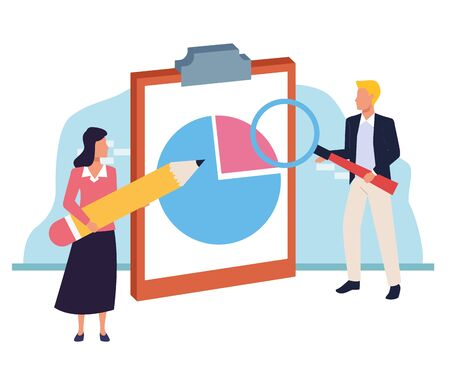 avatar woman and man pointing a clipboard with graphic charts over white and blue background, colorful design , vector illustration