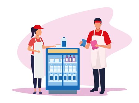 avatar supermarket workers next to beverages fridge over white background, colorful design , vector illustration