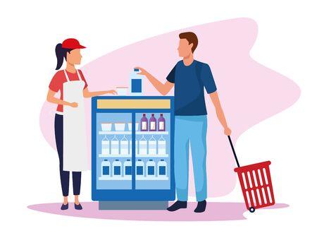 supermarket worker helping a customer at beverages fridge over white background, colorful design , vector illustration