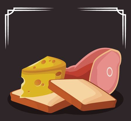 loaves with piece of cheese and ham leg over black background, colorful design , vector illustration Ilustracja