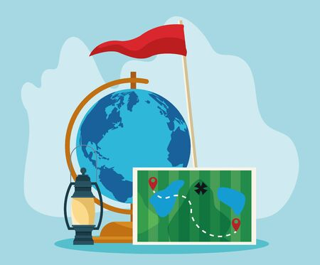 geography globe with forest map and camping lantern over blue background, colorful design , vector illustration Иллюстрация