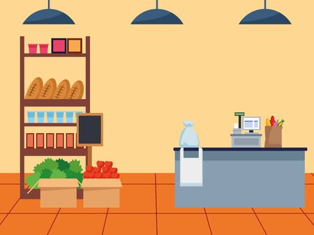 supermarket stand with groceries and cash register, colorful design , vector illustration