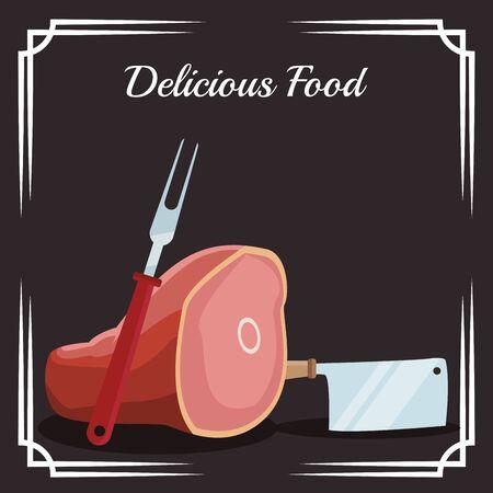 ham leg and kitchen utensils over black background, colorful design , vector illustration