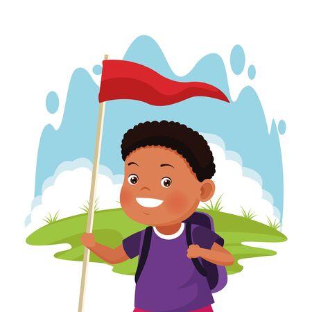 cartoon explorer boy with a flag over white background, colorful design , vector illustration Stok Fotoğraf - 133703516