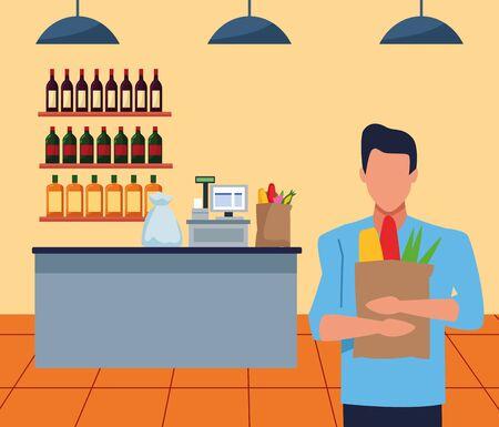 avatar man holding a bag in front of supermarket cash register, colorful design , vector illustration