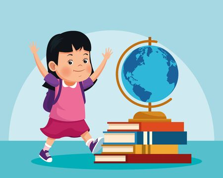 cartoon girl and geography tool on stack of books over blue background, colorful design , vector illustration Иллюстрация