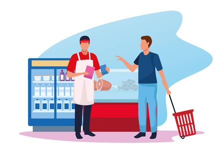 man with worker at supermarket in the zone of meat and beverages fridges, colorful design , vector illustration