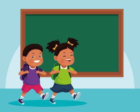 cartoon kids in front of school chalkboard over blue background, colorful design , vector illustration