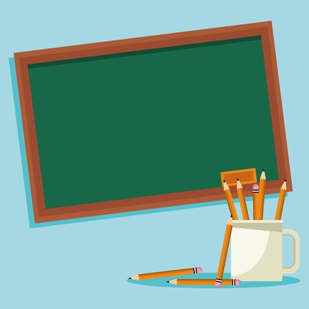 school chalkboard and mug with pencils over blue background, colorful design , vector illustration
