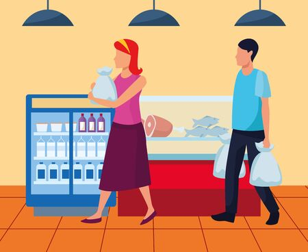 avatar woman and man on the supermarket near to beverages and meat fridges, vector illustration Illustration