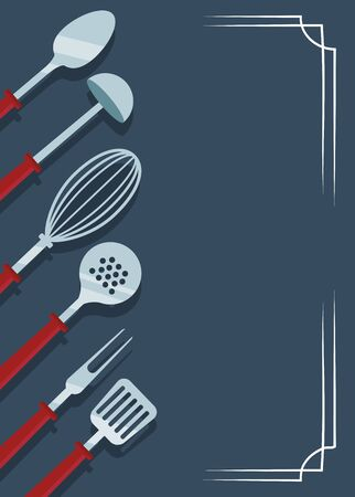 kitchen utensils over blue background, colorful design , vector illustration Ilustrace