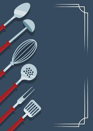 kitchen utensils over blue background, colorful design , vector illustration Illustration