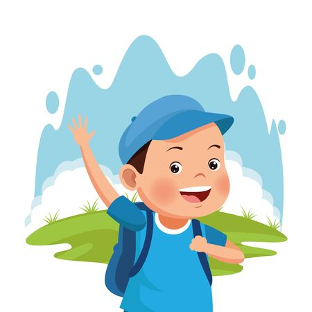 cartoon happy boy with blue cap over white background, colorful design , vector illustration Stok Fotoğraf - 133703729