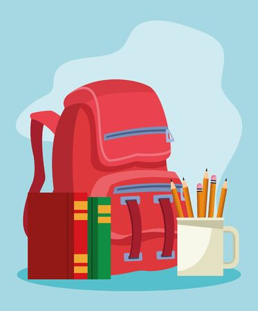 school backpack with books and mug with pencils over blue background, colorful design , vector illustration Vecteurs