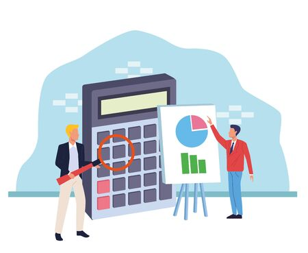 avatar businessmen with big calculator and magnifying glass over blue and white background, colorful design , vector illustration