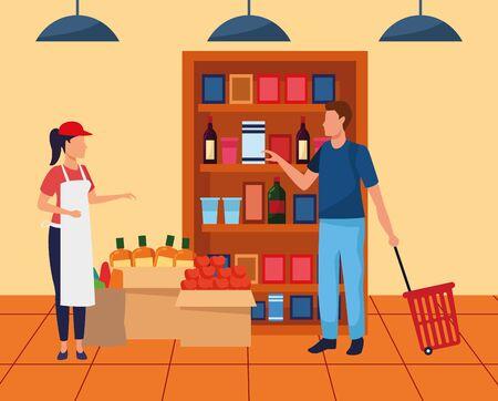 Avatar trabajador de supermercado ayudando a un cliente en el pasillo del supermercado, diseño colorido, ilustración vectorial