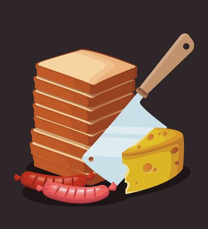 stack of loaves with piece of cheese and sausages over black background, colorful design , vector illustration Illustration