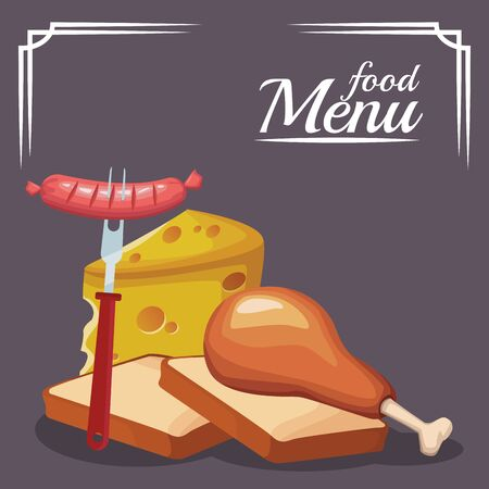 loaves with chicken thigh with piece of cheese over gray background, colorful design , vector illustration Illustration