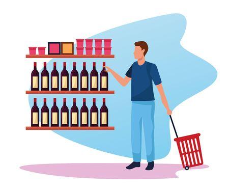 Hombre en el stand de supermercado con botellas sobre fondo blanco, diseño colorido, ilustración vectorial