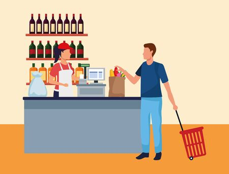 woman working at supermarket cash register with a customer, colorful design , vector illustration Ilustracja
