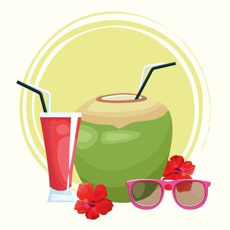 coconut drink and sunglasses and tropical flowers over white background, colorful design , vector illustration 스톡 콘텐츠 - 133754459