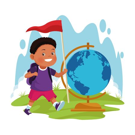 cartoon explorer boy with a flag and geography tool over white background, colorful design , vector illustration Иллюстрация