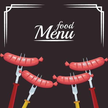 forks with sausages over black background, colorful food menu design, vector illustration
