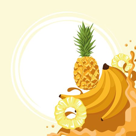 pineapples and bananas and juice splash over yellow background, colorful design , vector illustration