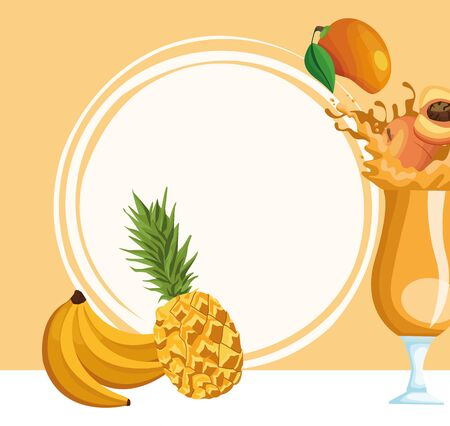 tropical fruits and peach splashing the juice over orange background, colorful design , vector illustration