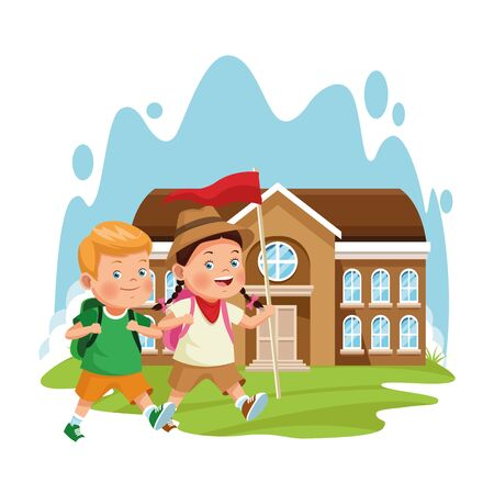explorer girl and boy at school building over white background, colorful design , vector illustration