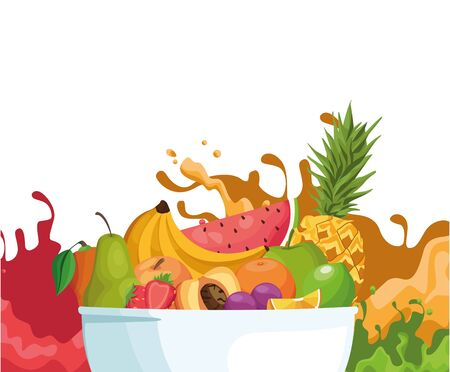 bowl with tropical fruits over splash juices and white background, colorful design , vector illustration