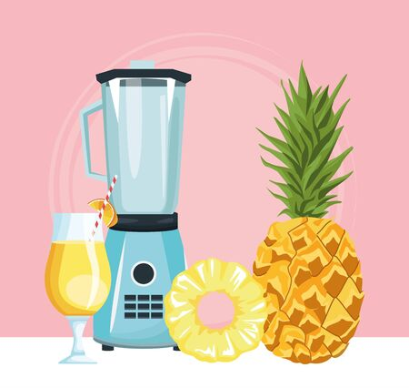 blender with pineapple and cocktail drink over pink background, colorful design , vector illustration