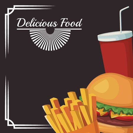 Hamburguesa con papas fritas y taza de refresco sobre fondo negro, ilustración vectorial
