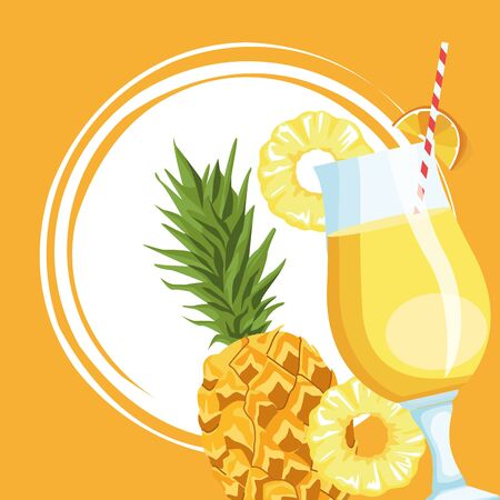 pineapple fruit and juice over yellow background, colorful design , vector illustration