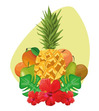 tropical leaves and flowers with tropical fruits over green background, colorful design , vector illustration Illusztráció