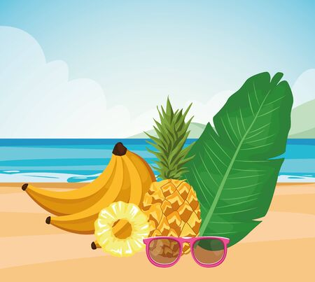 tropical leaf with banana and pineapple at the beach, colorful design , vector illustration