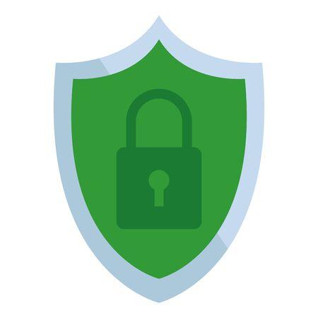 Diseño gráfico del ejemplo del vector de la historieta del icono de la seguridad de Internet del escudo y del candado