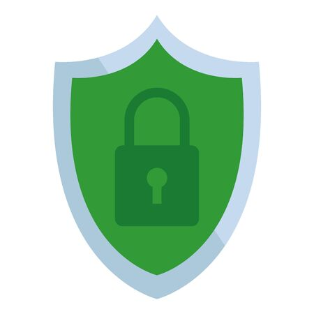 shield and padlock internet security icon cartoon vector illustration graphic design