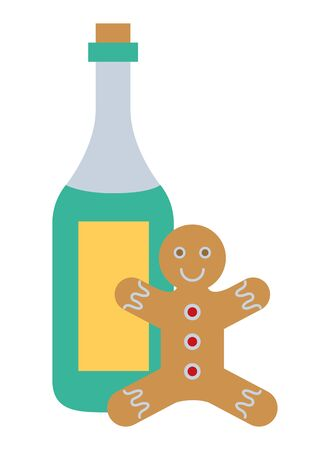 merry christmas ginger cookie and champagne bottle vector illustration design
