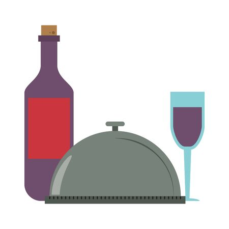 restaurant food and cuisine food tray and bottle and glass with wine icon cartoons vector illustration graphic design